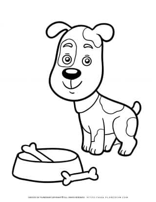 Animals Coloring Page - Dog and a Bowl with Bones | Planerium