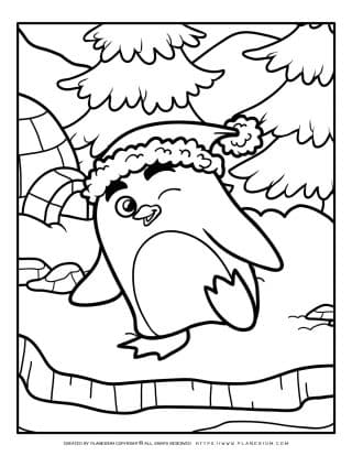 Animals Coloring Page - Penguin In Snow | Planerium