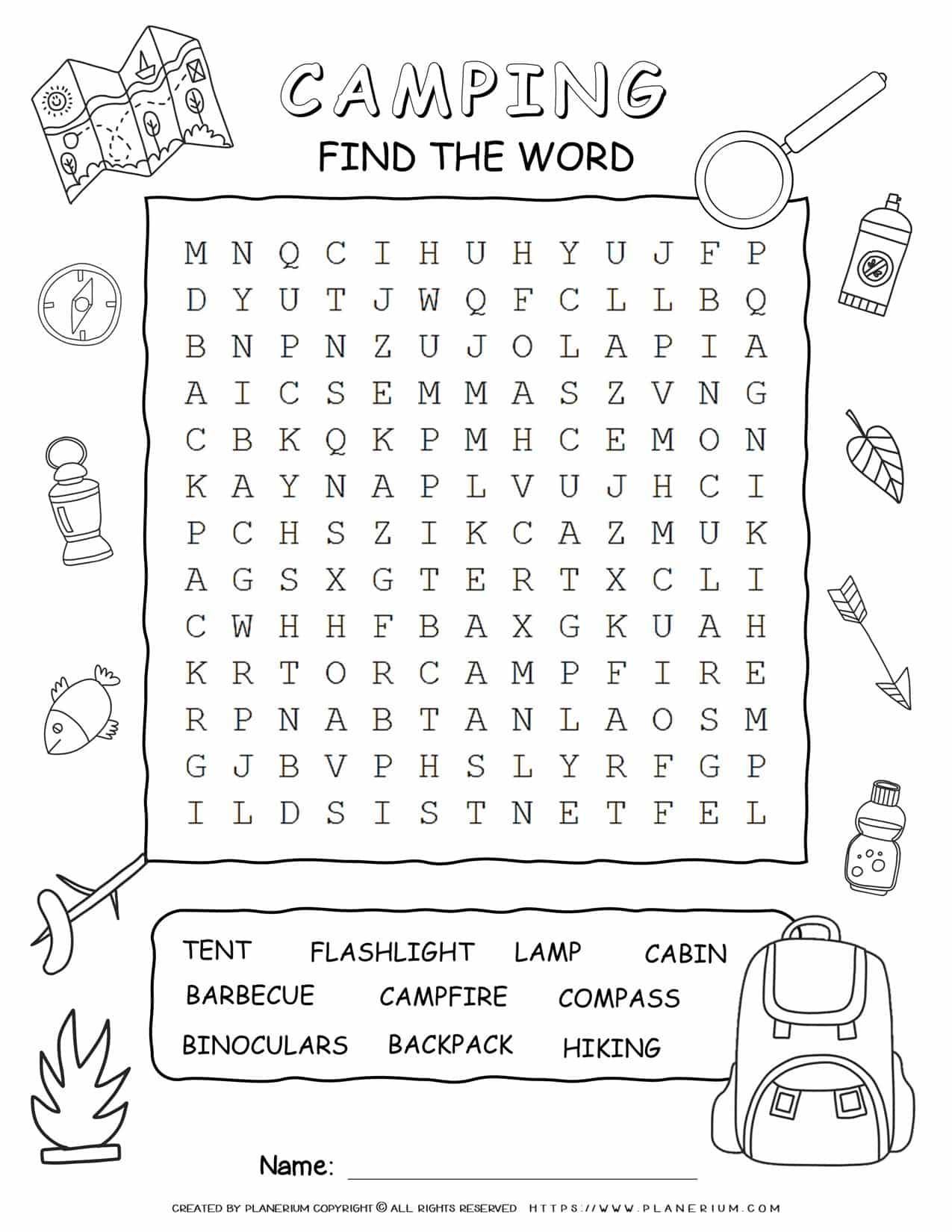 Camping Word Search - Ten Words | Planerium