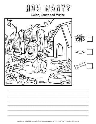 How Many Worksheet - A Dog And A Doghouse | Planerium