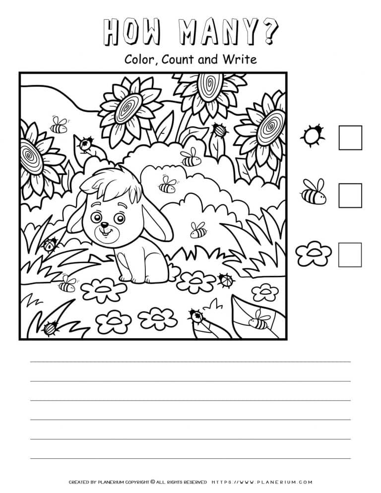 How Many Worksheet - A Dog In Nature | Planerium