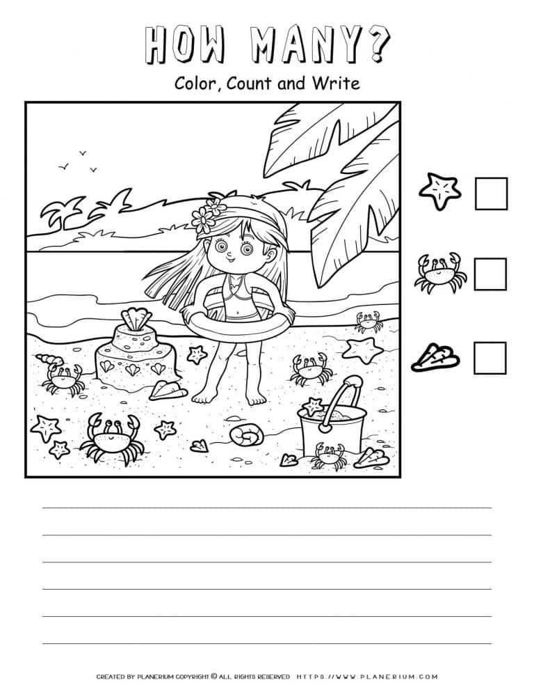 How Many Worksheet - A Girl In The Beach | Planerium