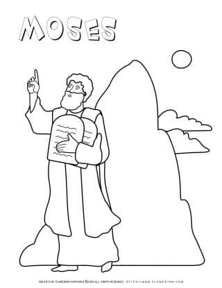 Moses And Mount Sinai - Coloring Page | Planerium