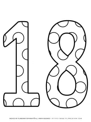 Numbers Coloring Pages - Decorated Eighteen | Planerium