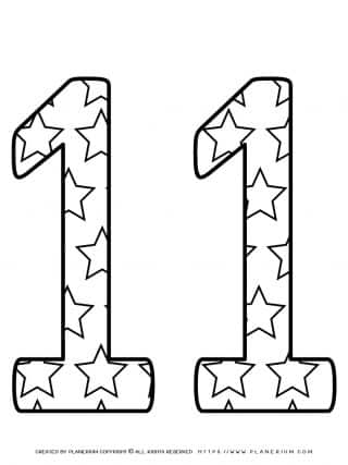 Numbers Coloring Pages - Decorated Eleven | Planerium