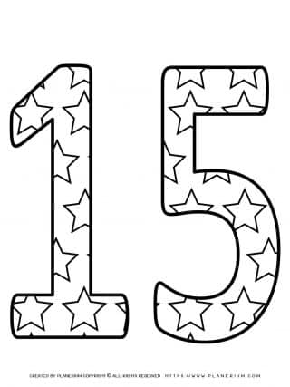 Numbers Coloring Pages - Decorated Fifteen | Planerium
