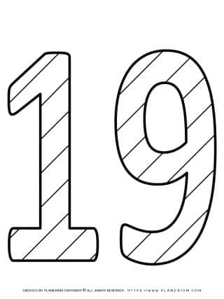 Numbers Coloring Pages - Decorated Nineteen | Planerium