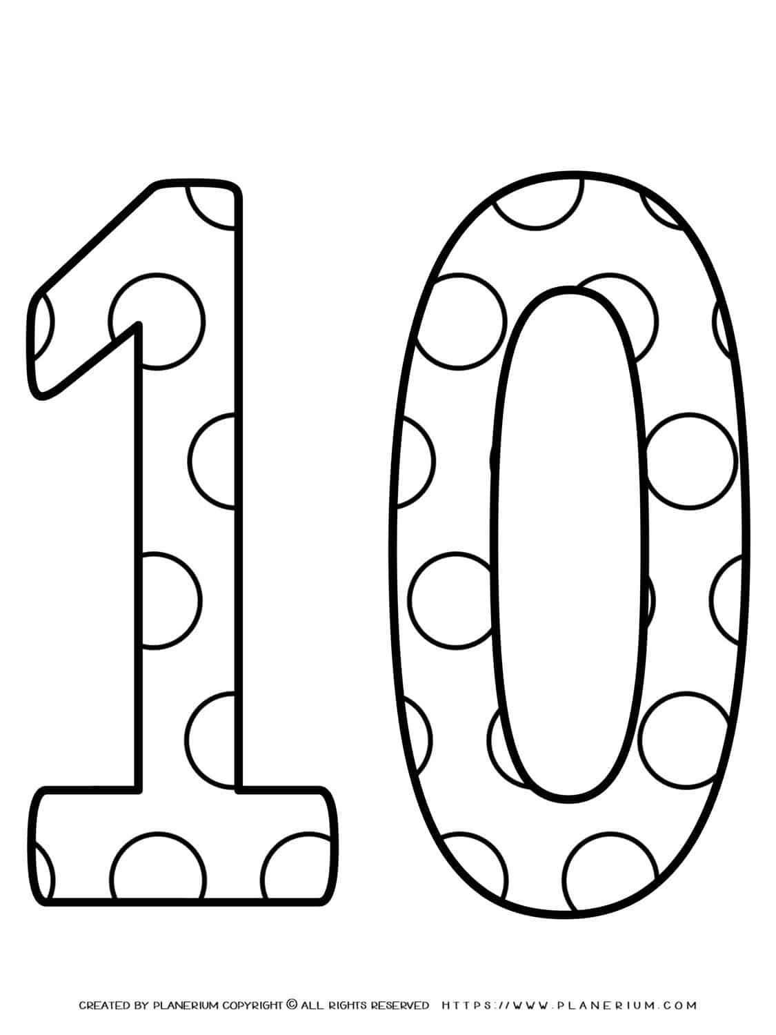 Numbers Coloring Pages - Decorated Ten   Planerium