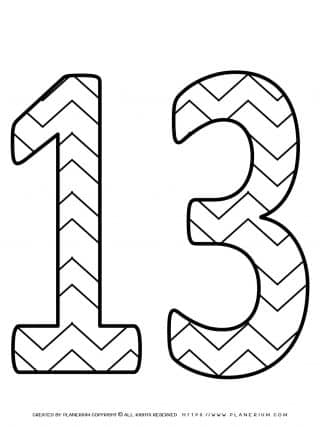 Numbers Coloring Pages - Decorated Thirteen | Planerium