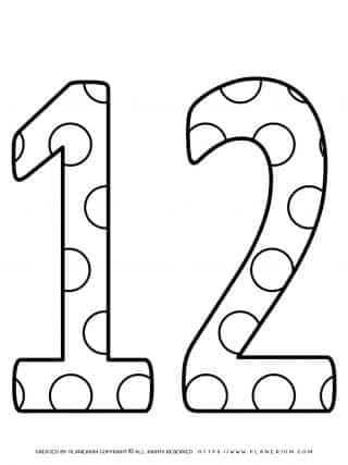 Numbers Coloring Pages - Decorated Twelve | Planerium