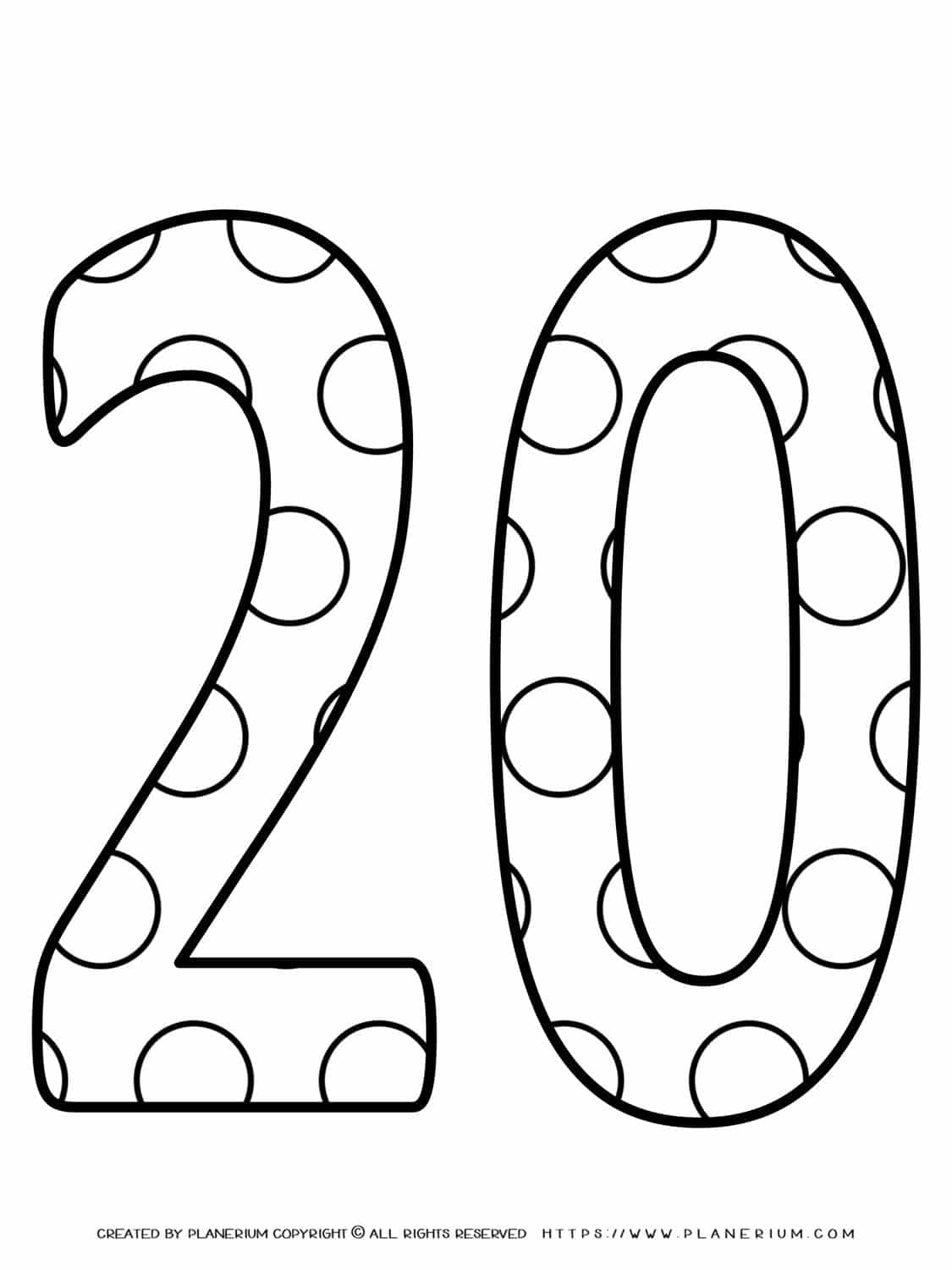 Numbers Coloring Pages - Decorated Twenty | Planerium