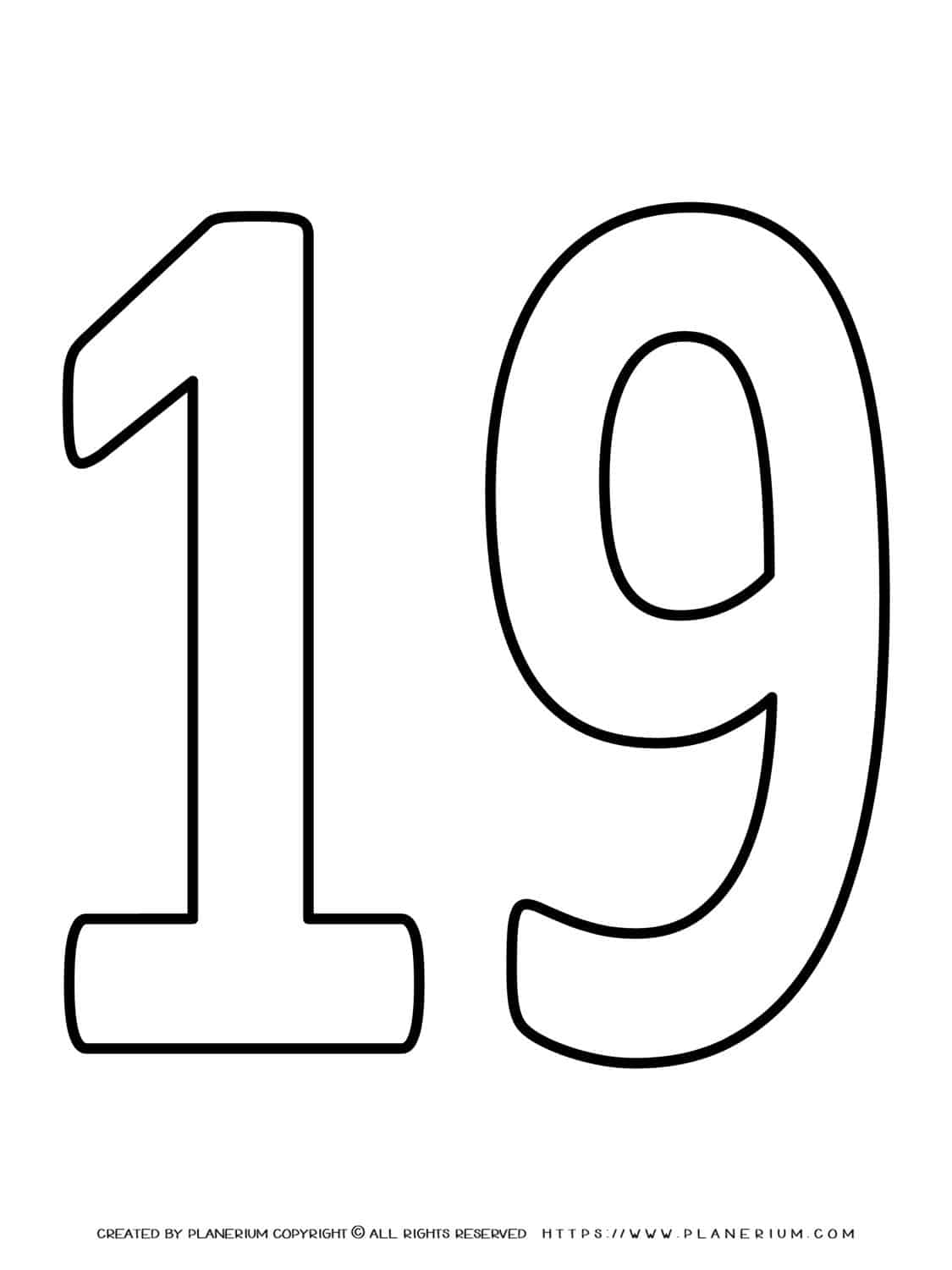 Numbers Coloring Pages - Nineteen | Planerium