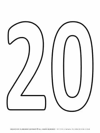 Numbers Coloring Pages - Twenty | Planerium