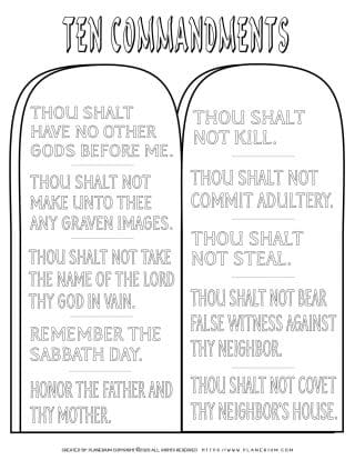 Ten Commandments In English - Coloring Page | Planerium