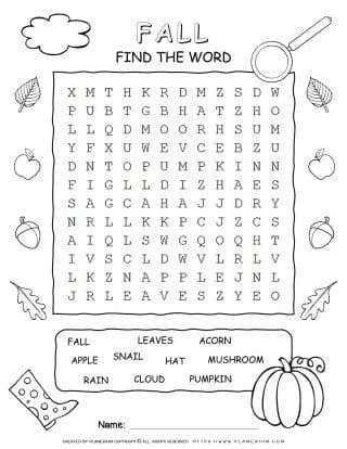Word Search For Fall with Ten Words | Planerium