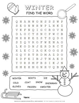 Word Search For Winter with Ten Words | Planerium