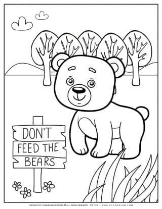 Animals Coloring Page - Bear | Planerium