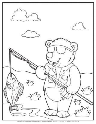 Animals Coloring Page - Bear Fishman | Planerium