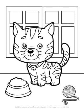 Animals Coloring Page - Cat | Planerium