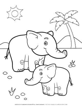 Animals Coloring Page - Elephants | Planerium