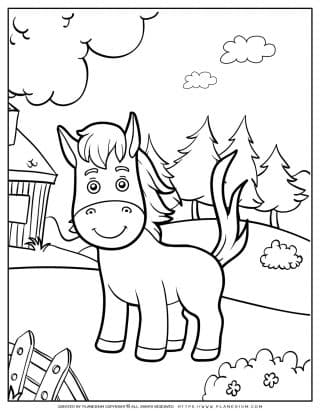 Animals Coloring Page - Horse In a Farm | Planerium
