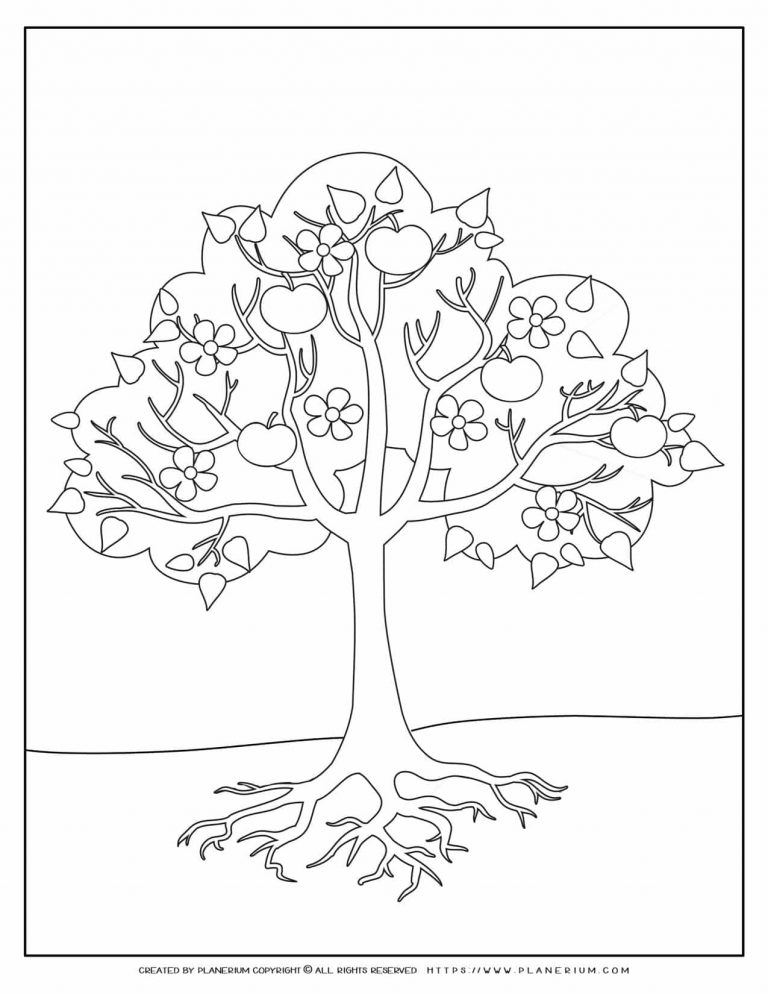Apple Tree Coloring Page | Planerium