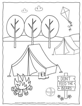 Camping Worksheet - Tents and Fire | Planerium