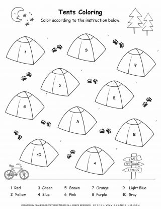 Camping Worksheet - Color By Number | Planerium
