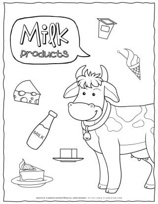 Food Coloring Page - Milk Products | Planerium
