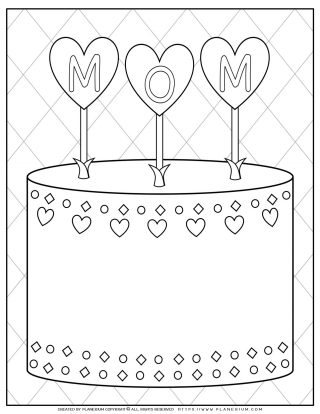 Mother's Day - Coloring Page - Greeting Cake for Mom | Planerium