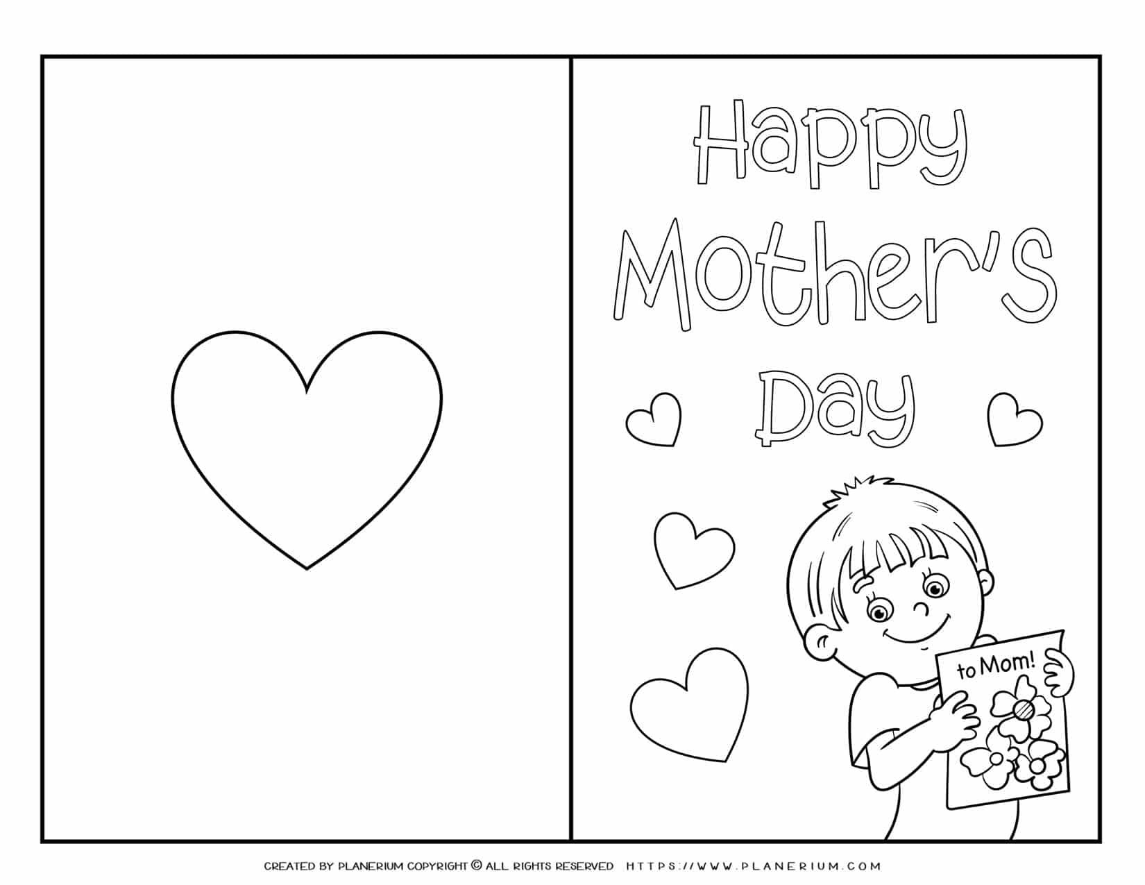 Mother's Day - Coloring Page - Greeting Card Cover - Boy | Planerium