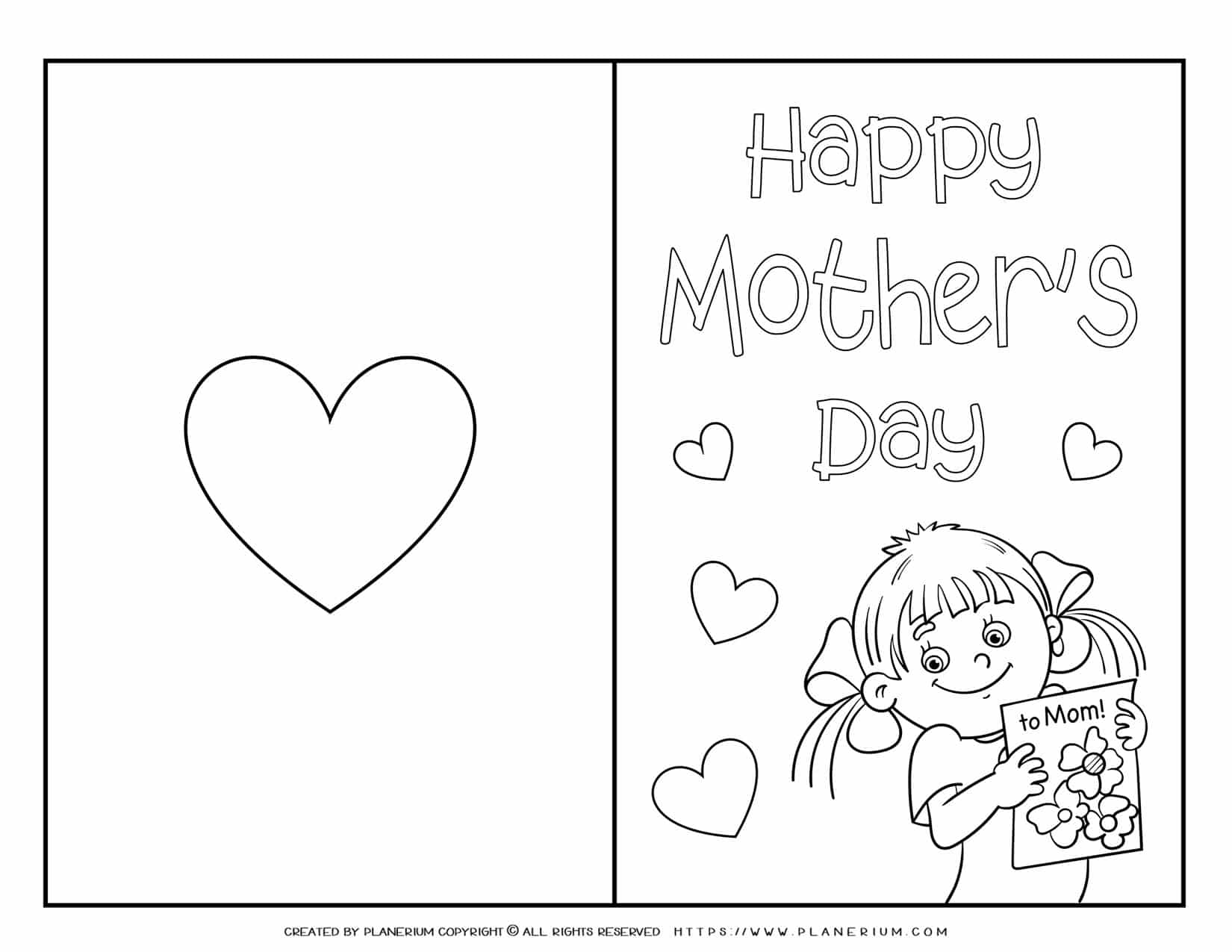 Mother's Day - Coloring Page - Greeting Card Cover - Girl | Planerium