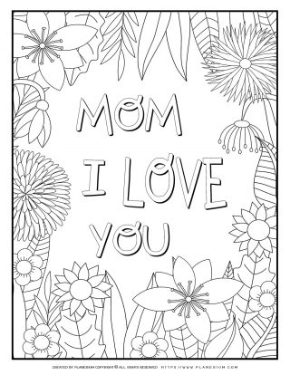 Mother's Day - Coloring Page - I Love You Flowers Frame | Planerium