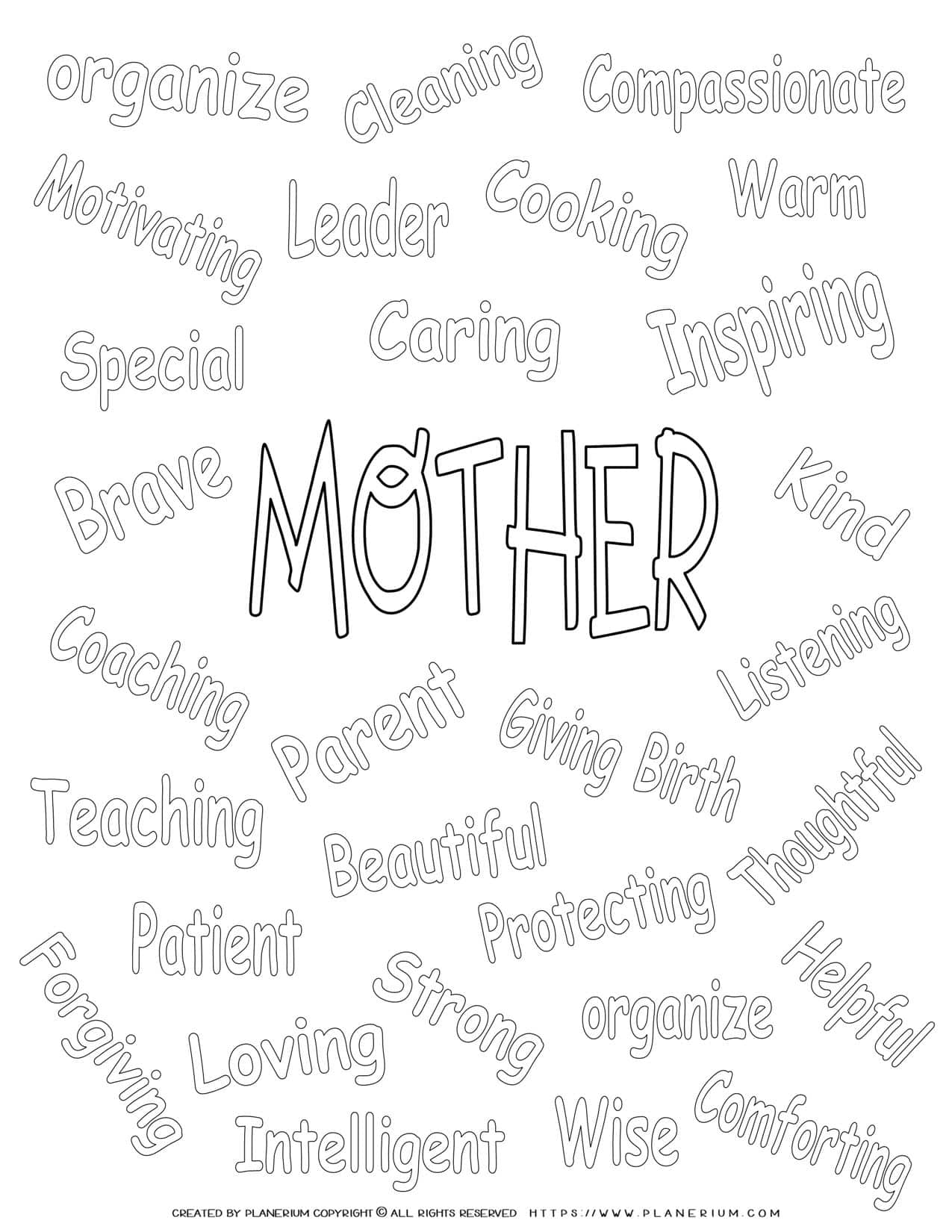 Mother's Day - Coloring Page - Related Words | Planerium