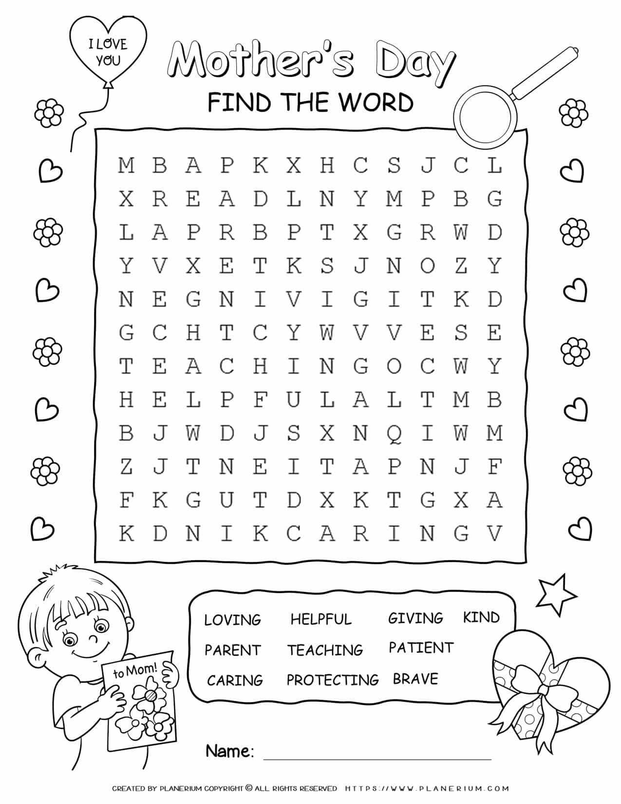 Mother's Day - Word Search Puzzle | Planerium