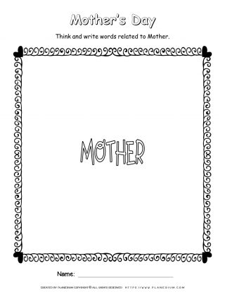 Mother's Day Worksheet - Write Related Words | Planerium