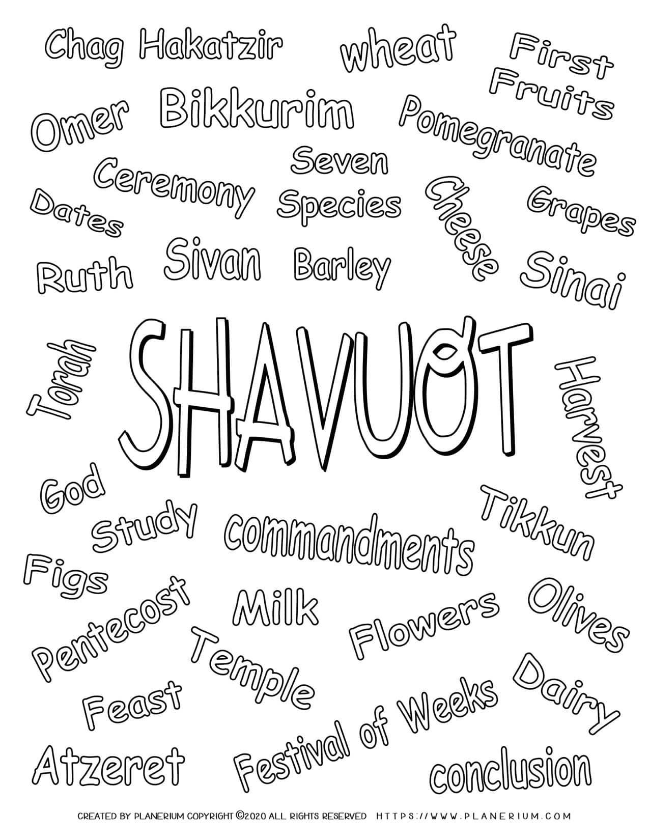 Shavuot Coloring Page - Related Words in English | Planerium