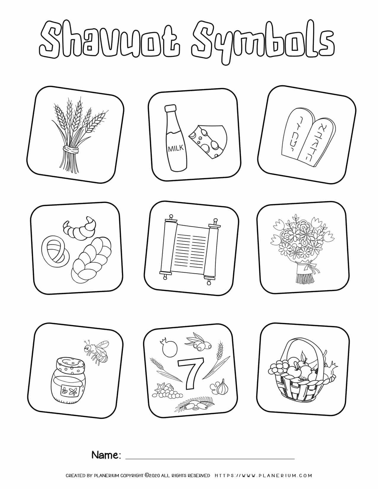Shavuot Coloring Page - Symbols | Planerium