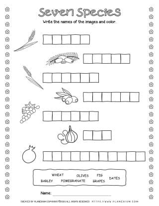 Shavuot Worksheet - The Seven Species - Writing Names | Planerium