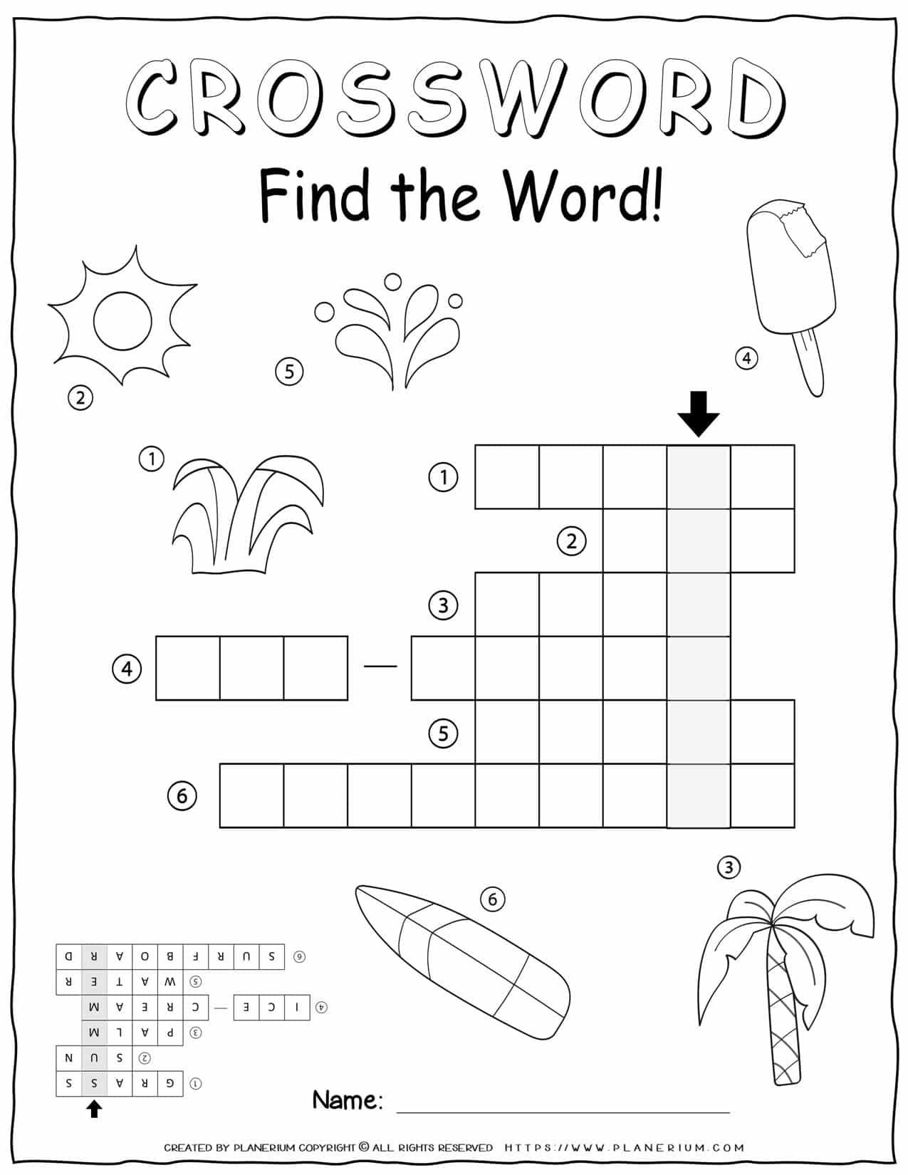 Summer Crossword - Easy | Planerium