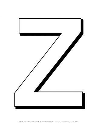 Alphabet Coloring Page - English Letter Z Capital | Planerium