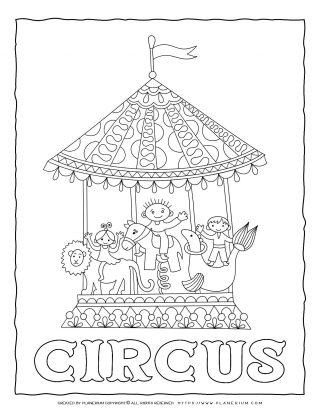 Circus Coloring Page - Circus Carousel | Planerium