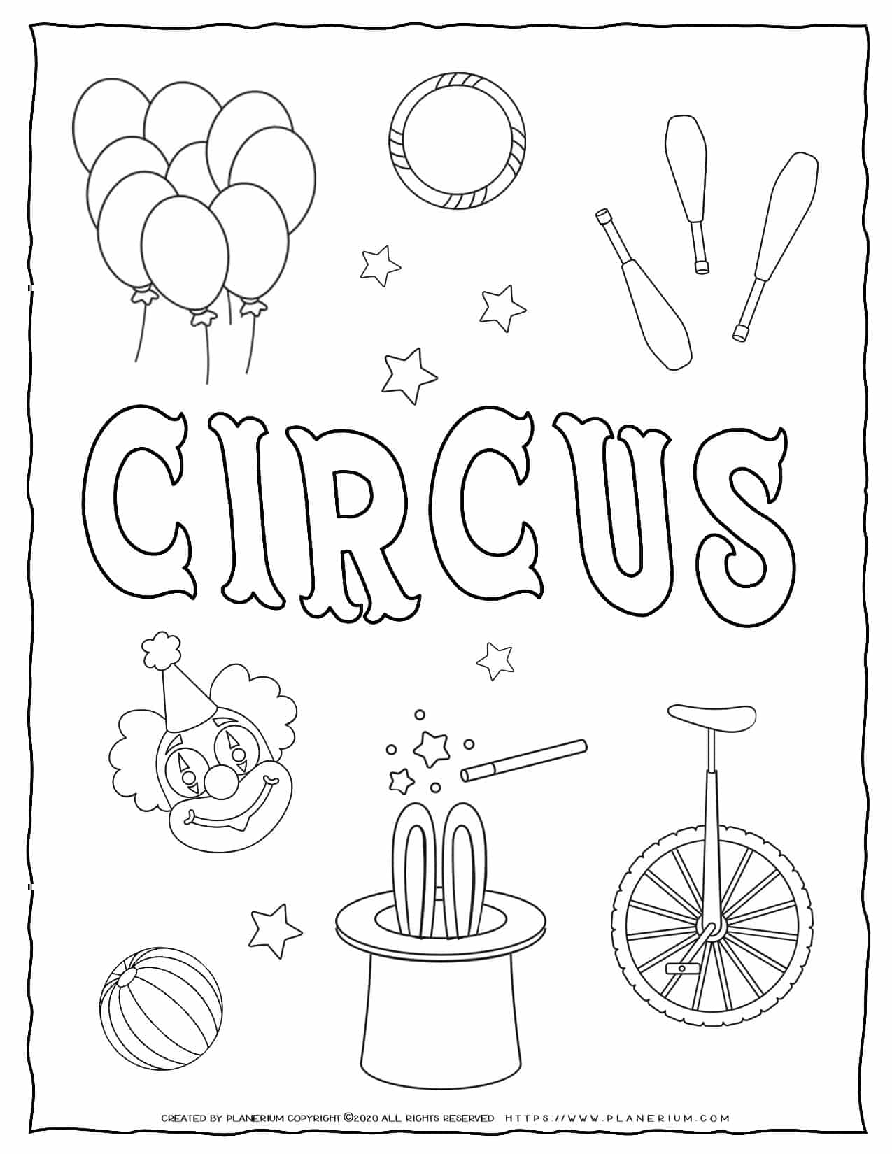 Circus Coloring Page - Circus Title and Objects | Planerium