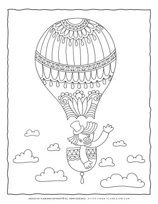Circus Coloring Page - Clown on Airballoon   Planerium