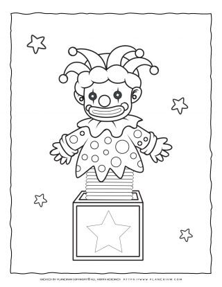 Circus Coloring Page - Jack in a Box   Planerium