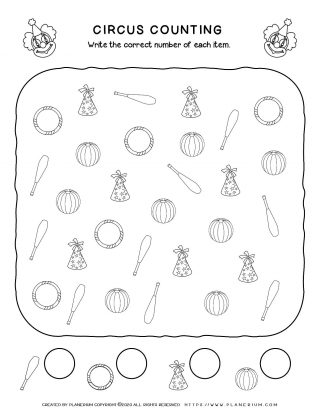Circus Worksheet - Counting Objects | Planerium