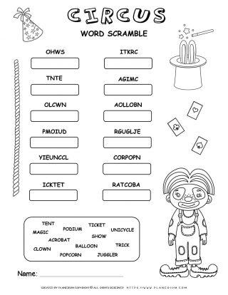 Circus Worksheet - Word Scramble | Planerium