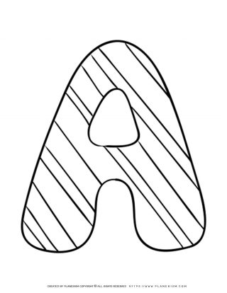 English Alphabet - Capital A with Pattern - Coloring Page | Planerium