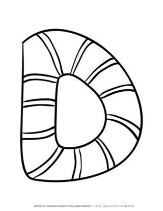 English Alphabet - Capital D with Pattern - Coloring Page | Planerium