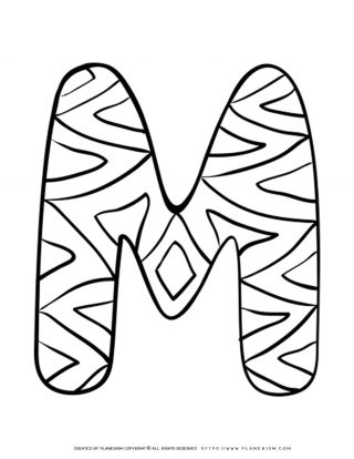 English Alphabet - Capital M with Pattern - Coloring Page | Planerium